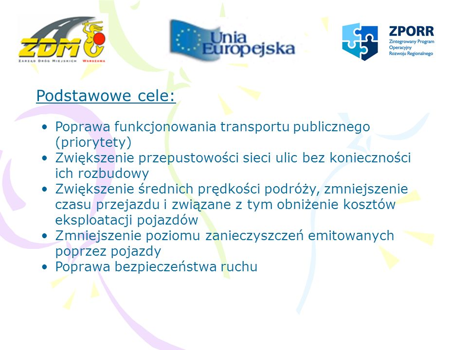 Podstawowe cele: Poprawa funkcjonowania transportu publicznego (priorytety) Zwiększenie przepustowości sieci ulic bez konieczności ich rozbudowy.