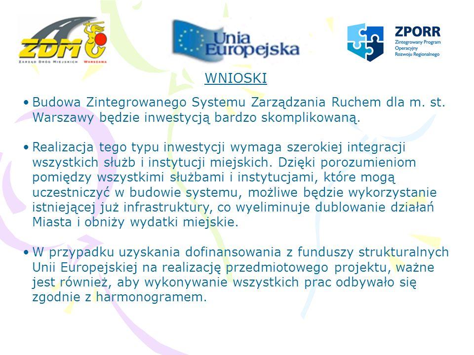 WNIOSKI Budowa Zintegrowanego Systemu Zarządzania Ruchem dla m. st. Warszawy będzie inwestycją bardzo skomplikowaną.
