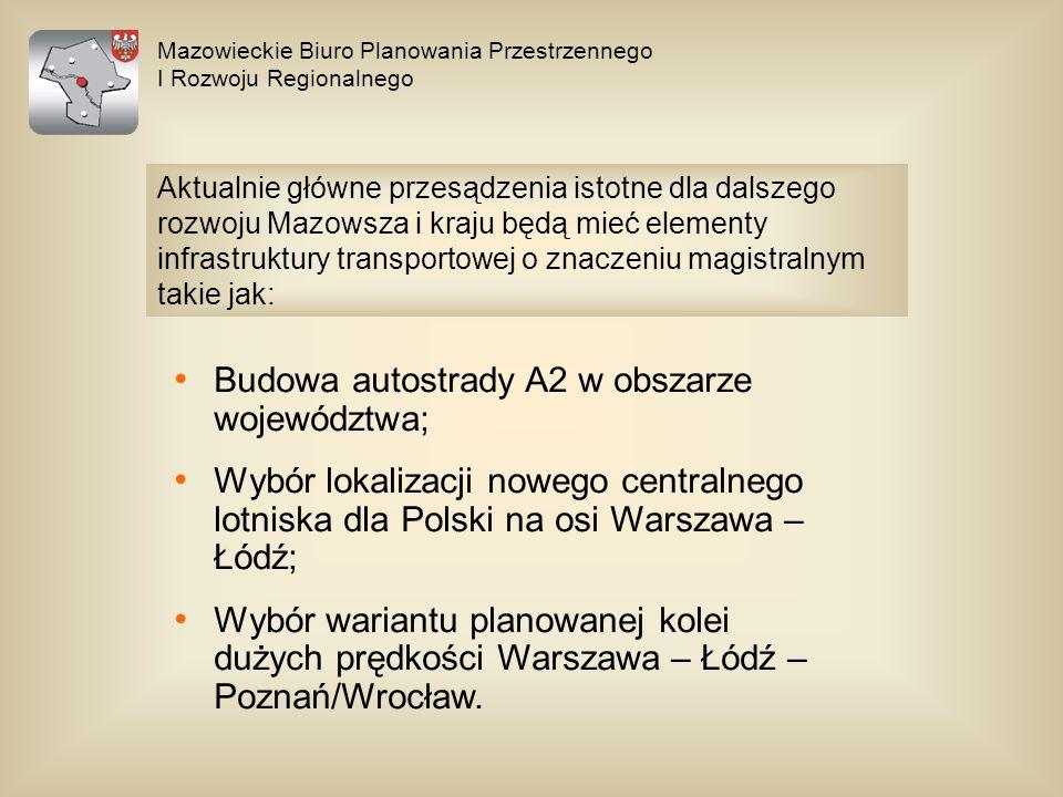 Budowa autostrady A2 w obszarze województwa;