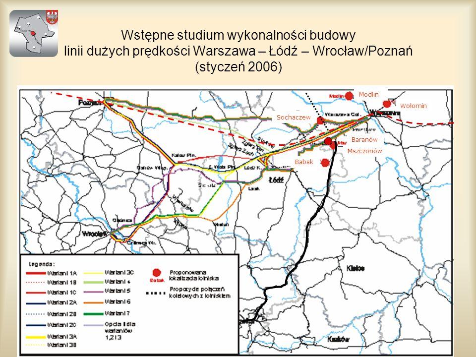 Wstępne studium wykonalności budowy linii dużych prędkości Warszawa – Łódź – Wrocław/Poznań (styczeń 2006)