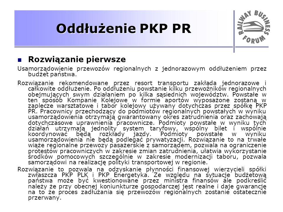 Oddłużenie PKP PR Rozwiązanie pierwsze