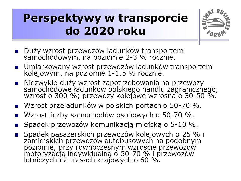 Perspektywy w transporcie do 2020 roku