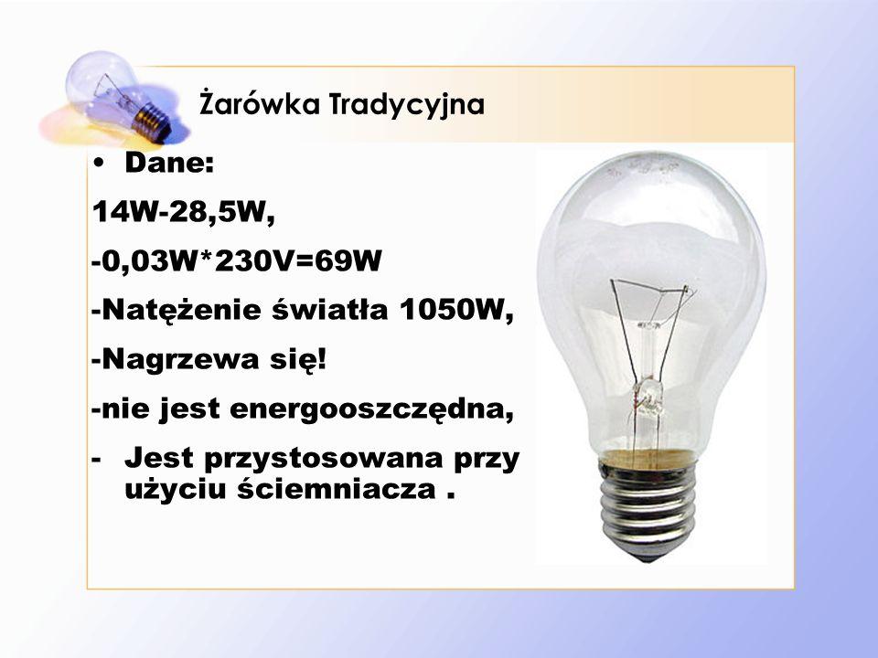 Żarówka Tradycyjna Dane: 14W-28,5W, -0,03W*230V=69W. -Natężenie światła 1050W, -Nagrzewa się! -nie jest energooszczędna,