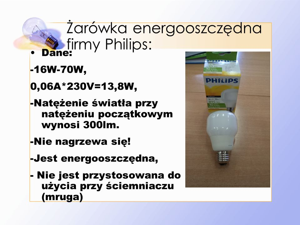 Żarówka energooszczędna firmy Philips: