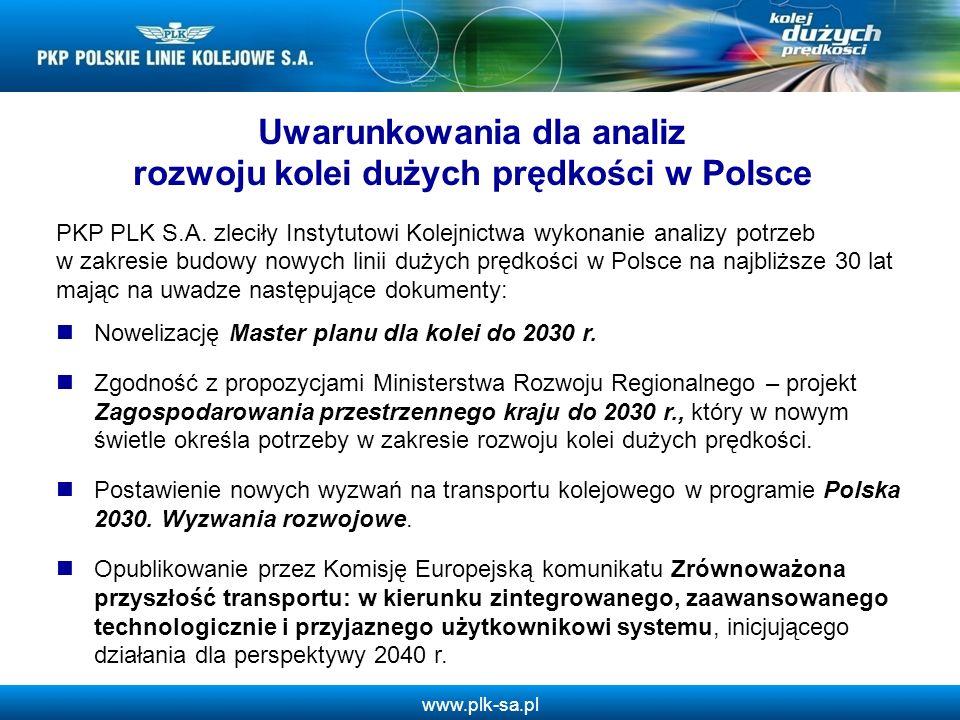 Uwarunkowania dla analiz rozwoju kolei dużych prędkości w Polsce