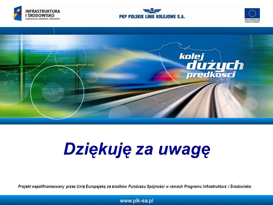 Dziękuję za uwagę Projekt współfinansowany przez Unię Europejską ze środków Funduszu Spójności w ramach Programu Infrastruktura i Środowisko.
