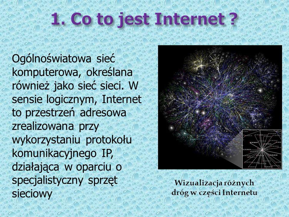 Wizualizacja różnych dróg w części Internetu