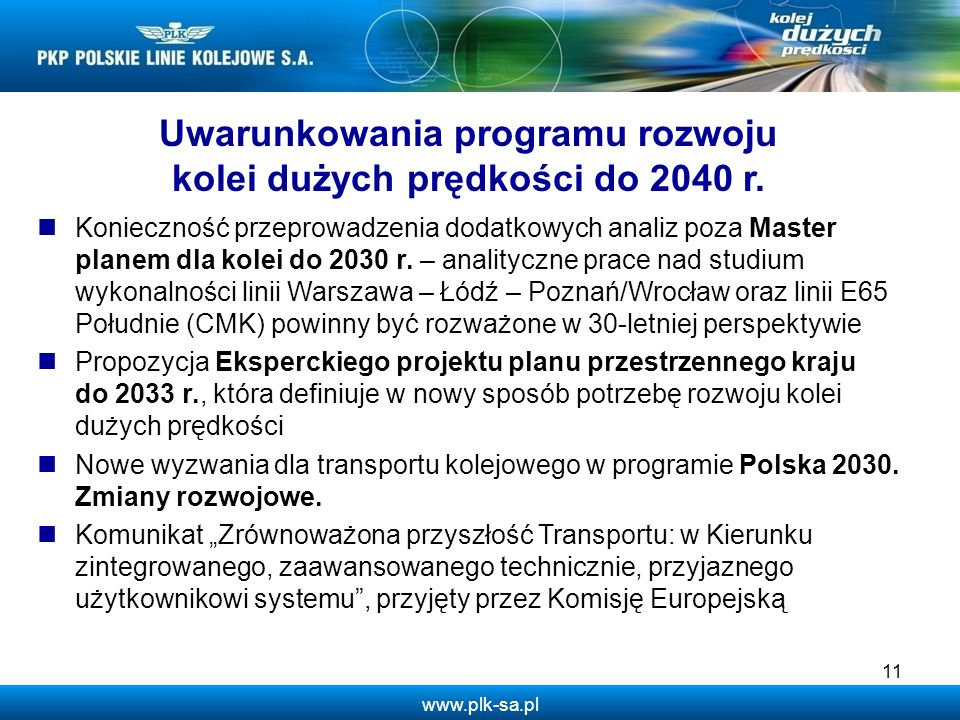 Uwarunkowania programu rozwoju kolei dużych prędkości do 2040 r.