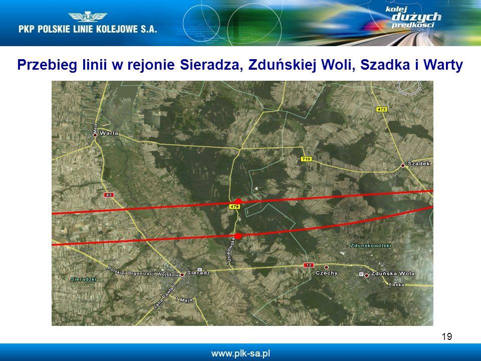 Przebieg linii w rejonie Sieradza, Zduńskiej Woli, Szadka i Warty