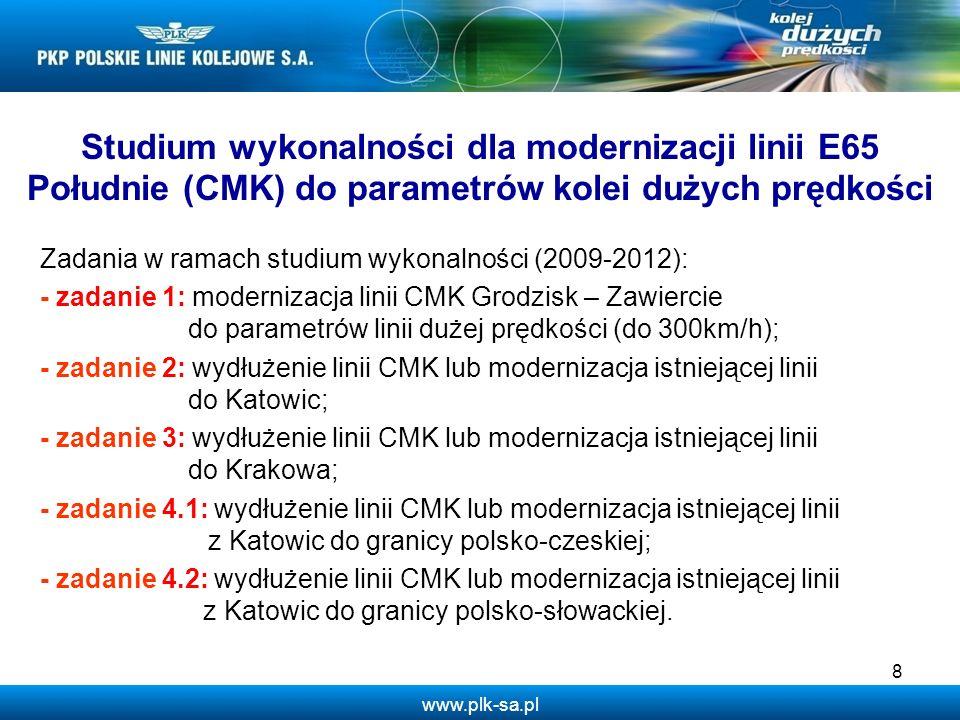 Studium wykonalności dla modernizacji linii E65 Południe (CMK) do parametrów kolei dużych prędkości