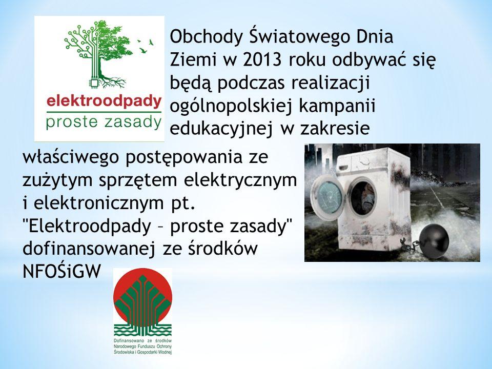Obchody Światowego Dnia Ziemi w 2013 roku odbywać się będą podczas realizacji ogólnopolskiej kampanii edukacyjnej w zakresie
