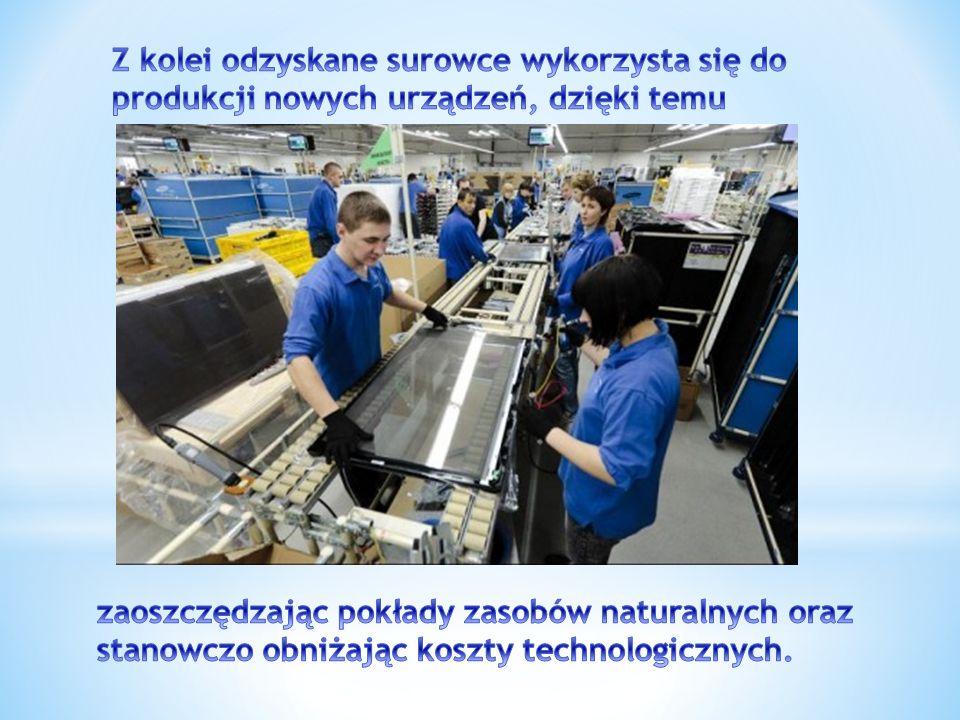 Z kolei odzyskane surowce wykorzysta się do produkcji nowych urządzeń, dzięki temu