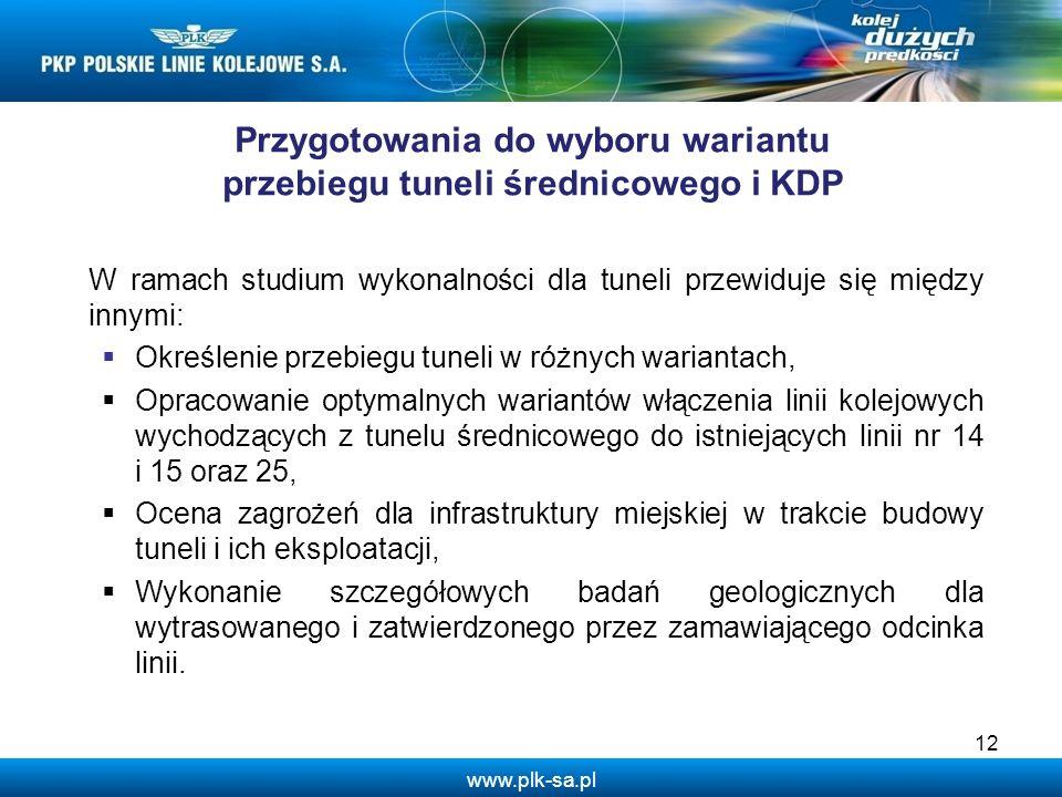 Przygotowania do wyboru wariantu przebiegu tuneli średnicowego i KDP