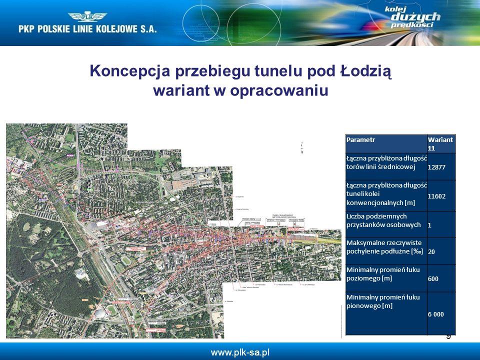 Koncepcja przebiegu tunelu pod Łodzią wariant w opracowaniu