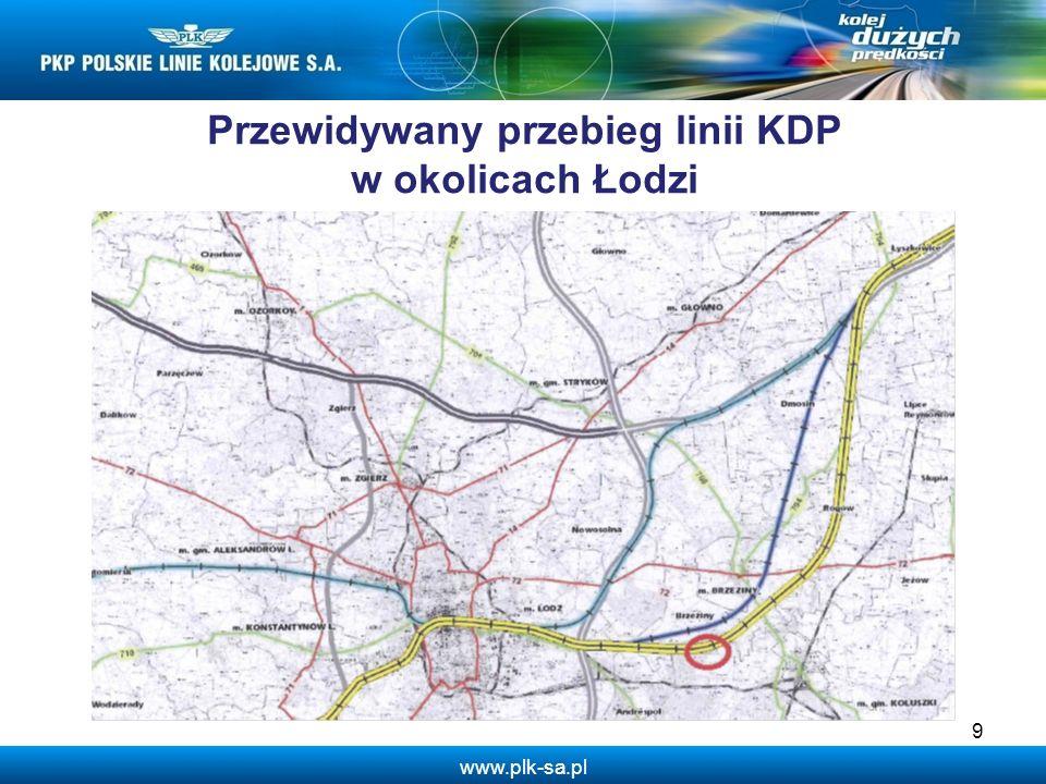 Przewidywany przebieg linii KDP w okolicach Łodzi