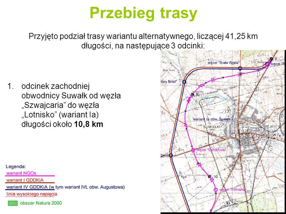 Przebieg trasy Przyjęto podział trasy wariantu alternatywnego, liczącej 41,25 km długości, na następujące 3 odcinki: