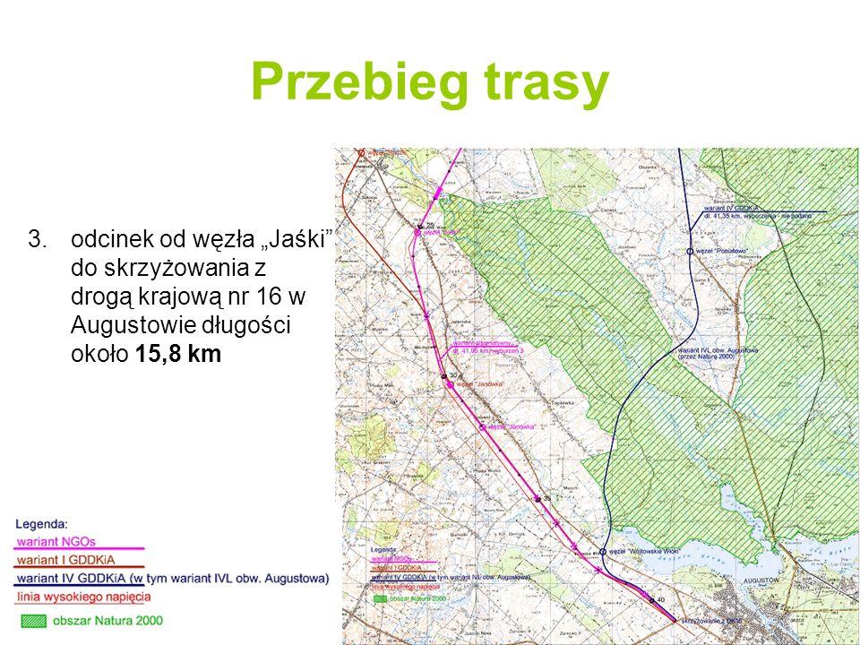"""Przebieg trasy odcinek od węzła """"Jaśki do skrzyżowania z drogą krajową nr 16 w Augustowie długości około 15,8 km."""