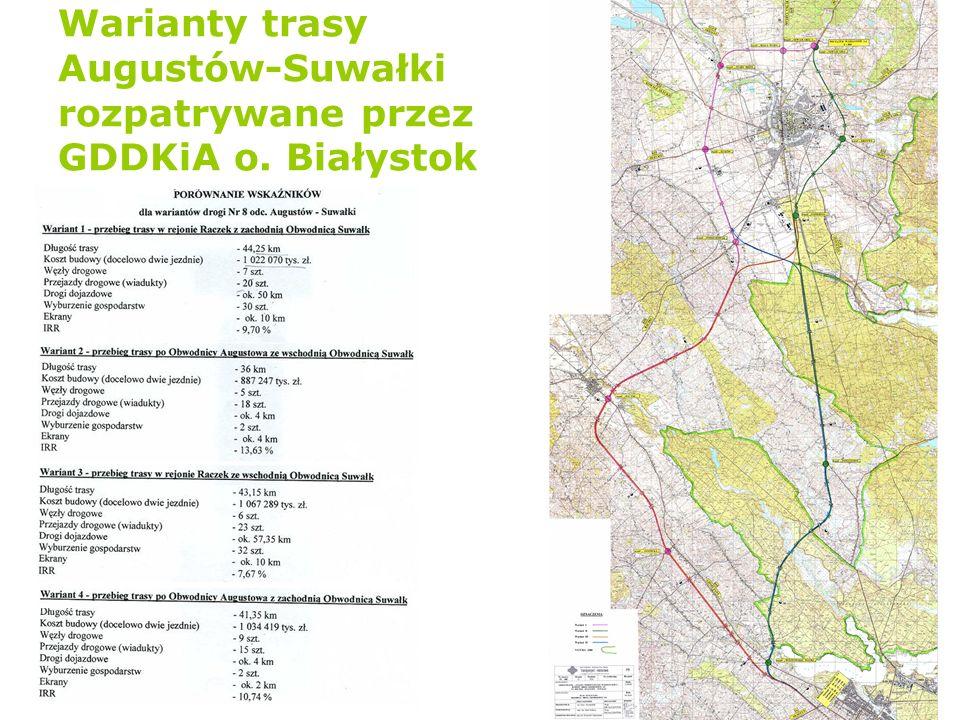 Warianty trasy Augustów-Suwałki rozpatrywane przez GDDKiA o. Białystok