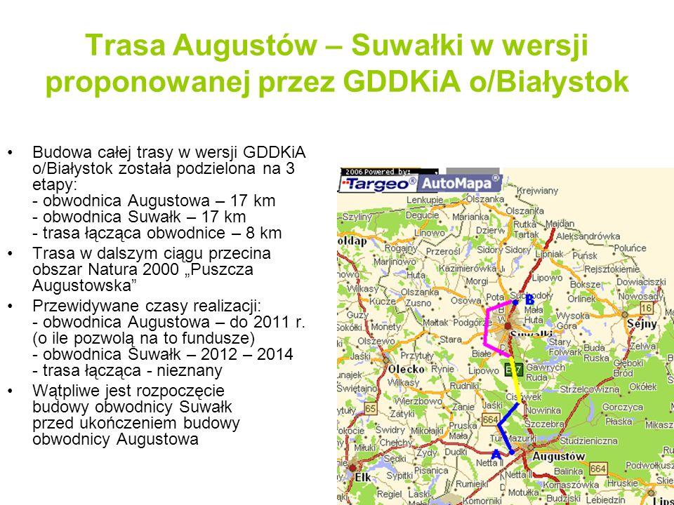 Trasa Augustów – Suwałki w wersji proponowanej przez GDDKiA o/Białystok