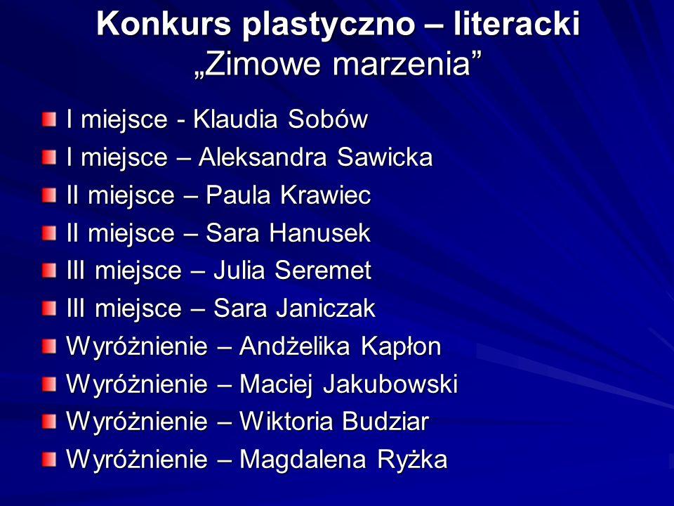 """Konkurs plastyczno – literacki """"Zimowe marzenia"""