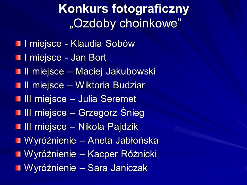 """Konkurs fotograficzny """"Ozdoby choinkowe"""