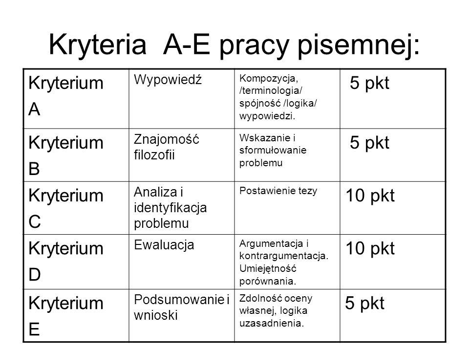 Kryteria A-E pracy pisemnej: