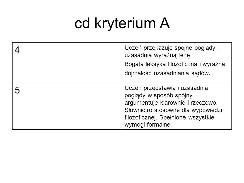 cd kryterium A 4. Uczeń przekazuje spójne poglądy i uzasadnia wyrażną tezę. Bogata leksyka filozoficzna i wyraźna dojrzałość uzasadniania sądów.