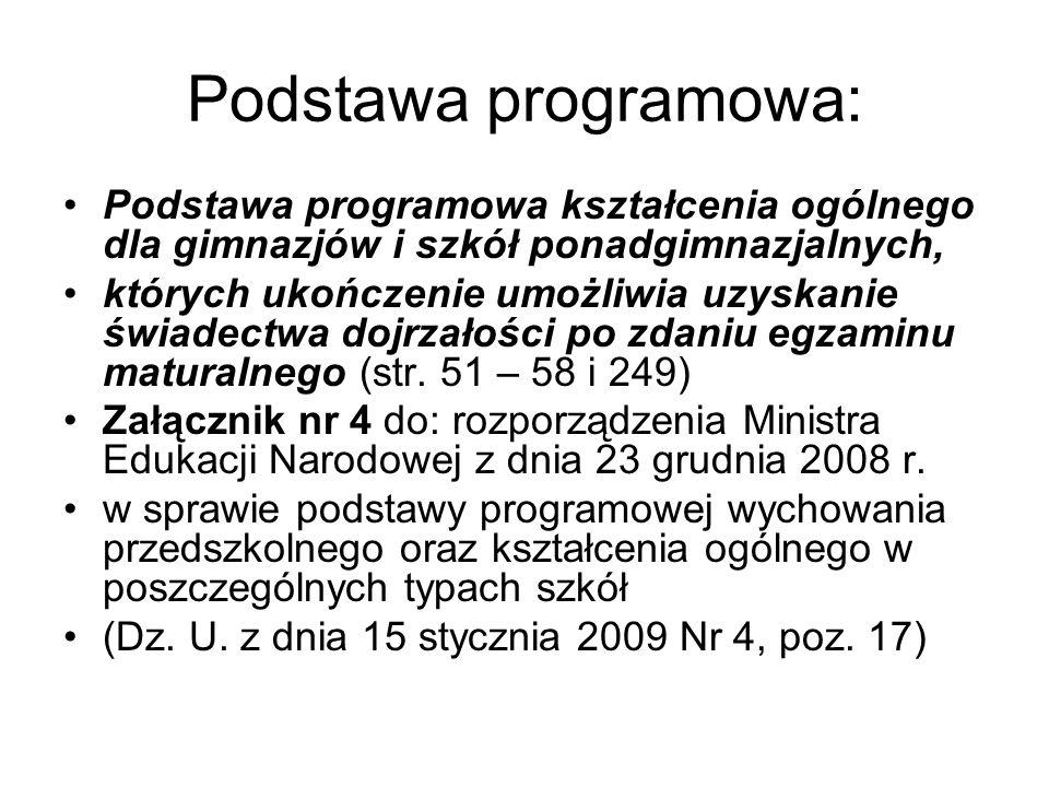 Podstawa programowa: Podstawa programowa kształcenia ogólnego dla gimnazjów i szkół ponadgimnazjalnych,
