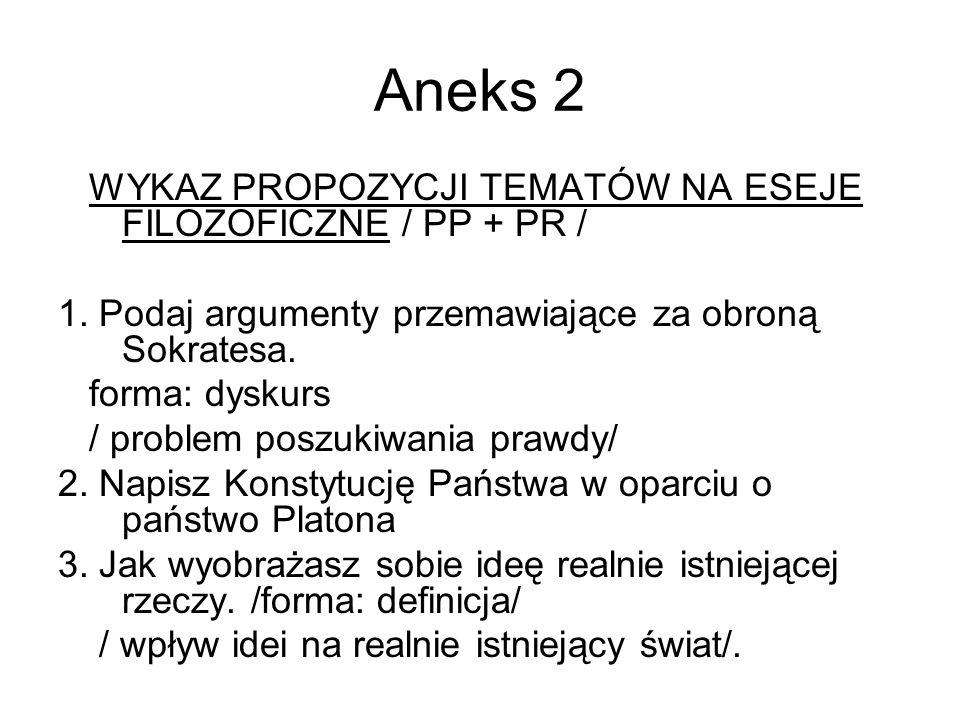 Aneks 2 WYKAZ PROPOZYCJI TEMATÓW NA ESEJE FILOZOFICZNE / PP + PR /