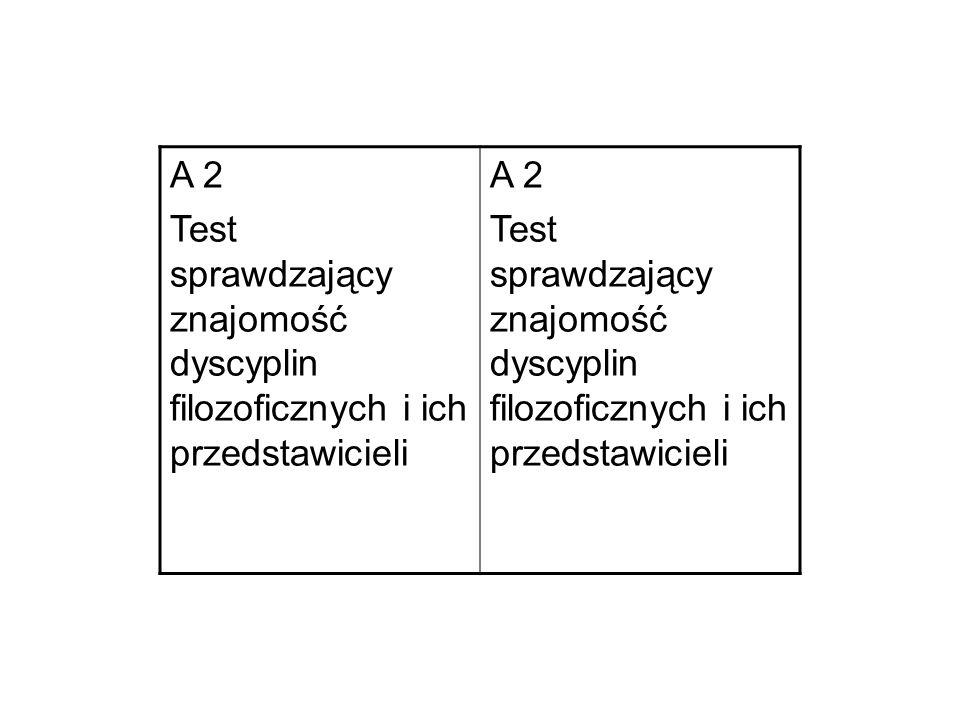 A 2 Test sprawdzający znajomość dyscyplin filozoficznych i ich przedstawicieli