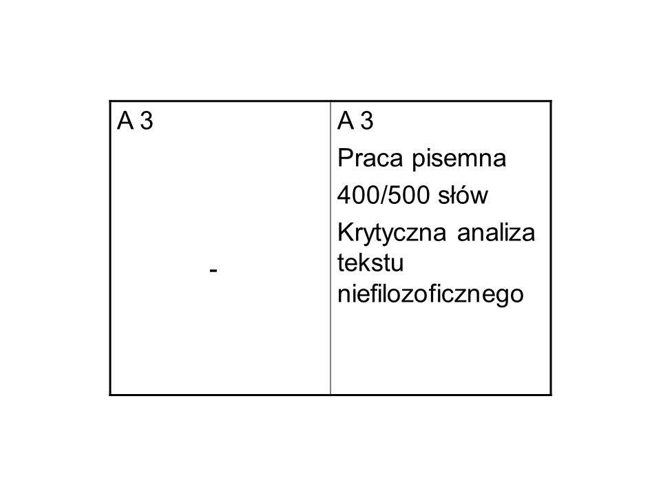 A 3 - Praca pisemna 400/500 słów Krytyczna analiza tekstu niefilozoficznego