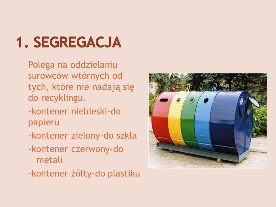 1. SEGREGACJA Polega na oddzielaniu surowców wtórnych od tych, które nie nadają się do recyklingu.