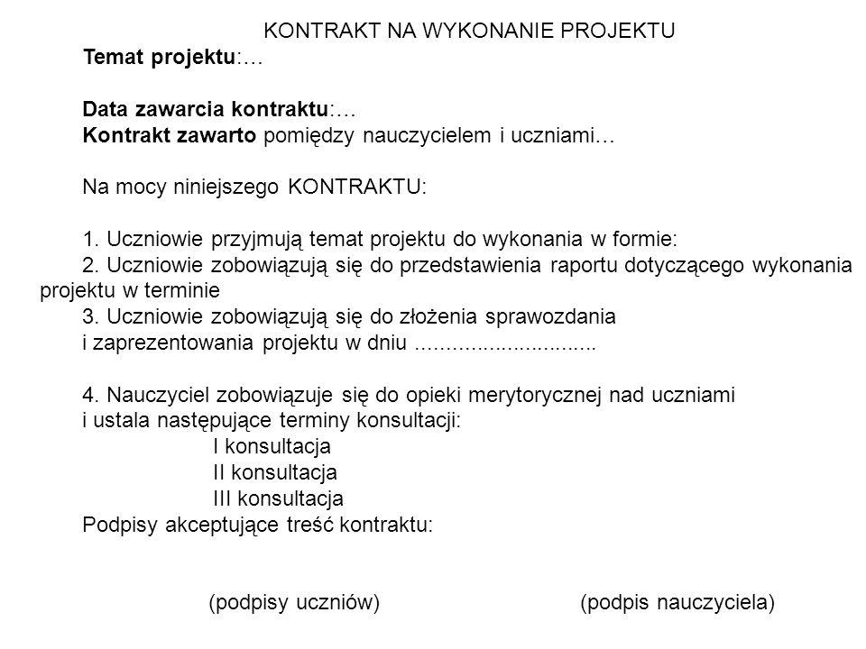 KONTRAKT NA WYKONANIE PROJEKTU Temat projektu:…
