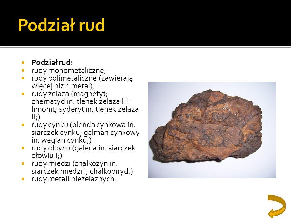 Podział rud Podział rud: rudy monometaliczne,