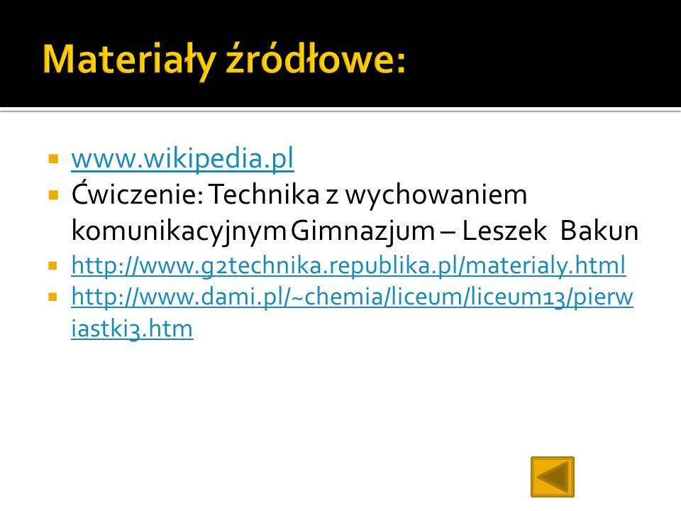Materiały źródłowe: www.wikipedia.pl