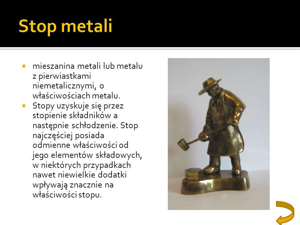 Stop metalimieszanina metali lub metalu z pierwiastkami niemetalicznymi, o właściwościach metalu.