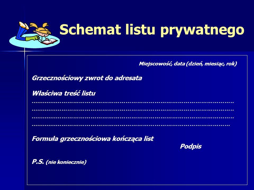 Schemat listu prywatnego