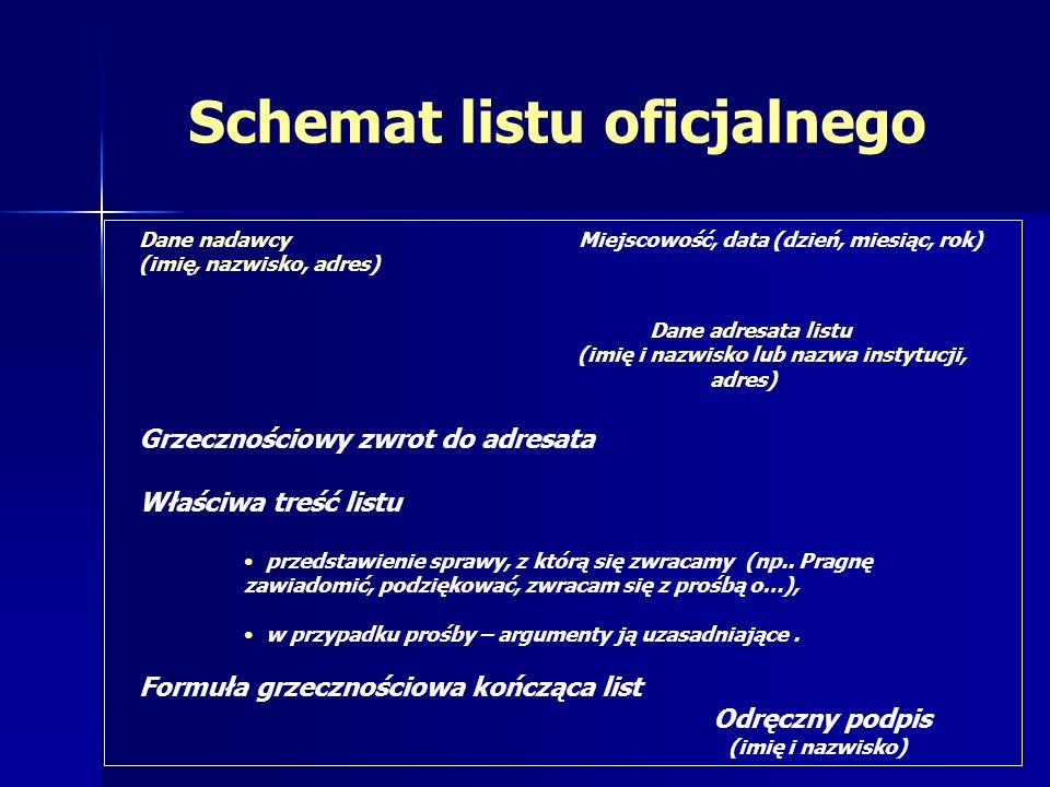 Schemat listu oficjalnego