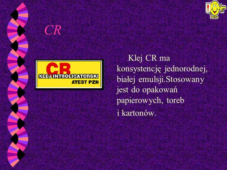CRKlej CR ma konsystencję jednorodnej, białej emulsji.Stosowany jest do opakowań papierowych, toreb.