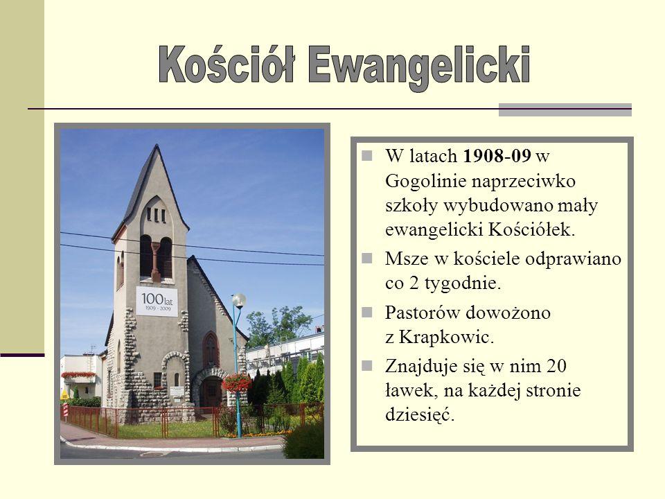 Kościół EwangelickiW latach 1908-09 w Gogolinie naprzeciwko szkoły wybudowano mały ewangelicki Kościółek.