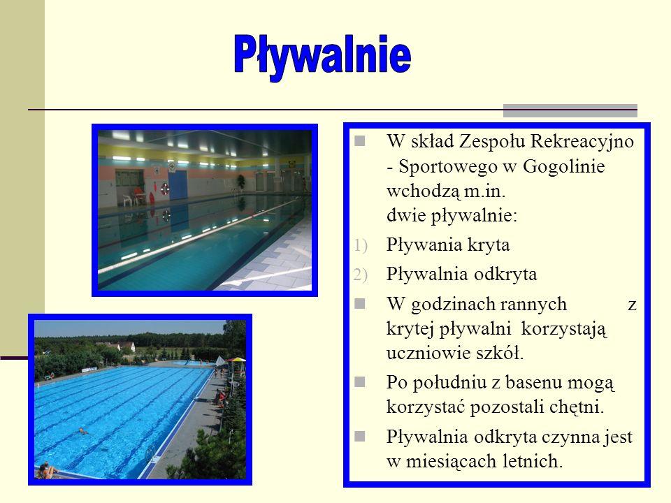 Pływalnie W skład Zespołu Rekreacyjno - Sportowego w Gogolinie wchodzą m.in. dwie pływalnie: