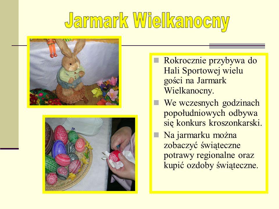 Jarmark Wielkanocny Rokrocznie przybywa do Hali Sportowej wielu gości na Jarmark Wielkanocny.