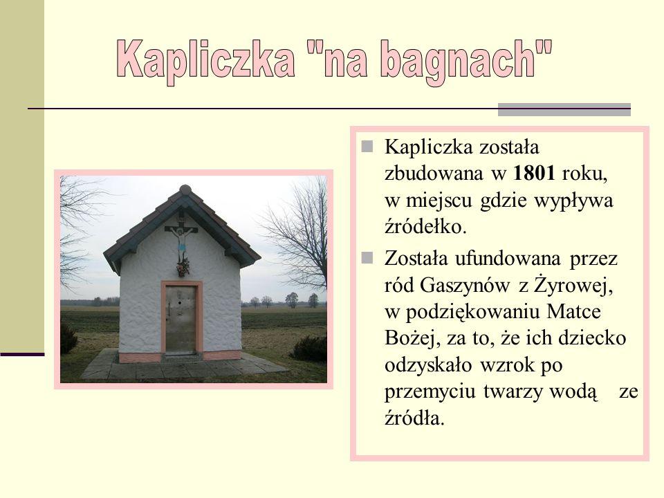 Kapliczka na bagnach Kapliczka została zbudowana w 1801 roku, w miejscu gdzie wypływa źródełko.