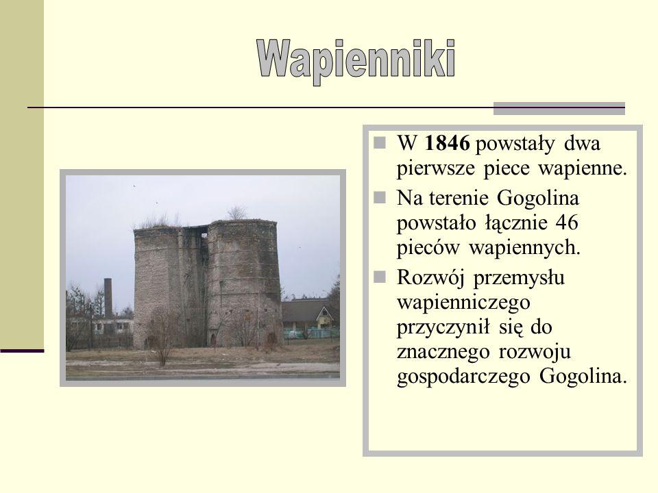Wapienniki W 1846 powstały dwa pierwsze piece wapienne.