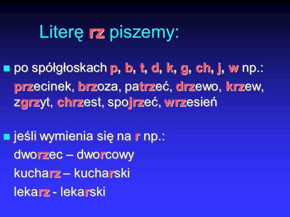 Literę rz piszemy: po spółgłoskach p, b, t, d, k, g, ch, j, w np.: