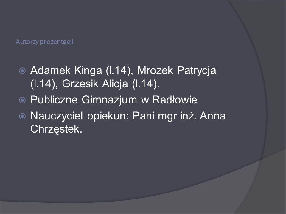 Adamek Kinga (l.14), Mrozek Patrycja (l.14), Grzesik Alicja (l.14).