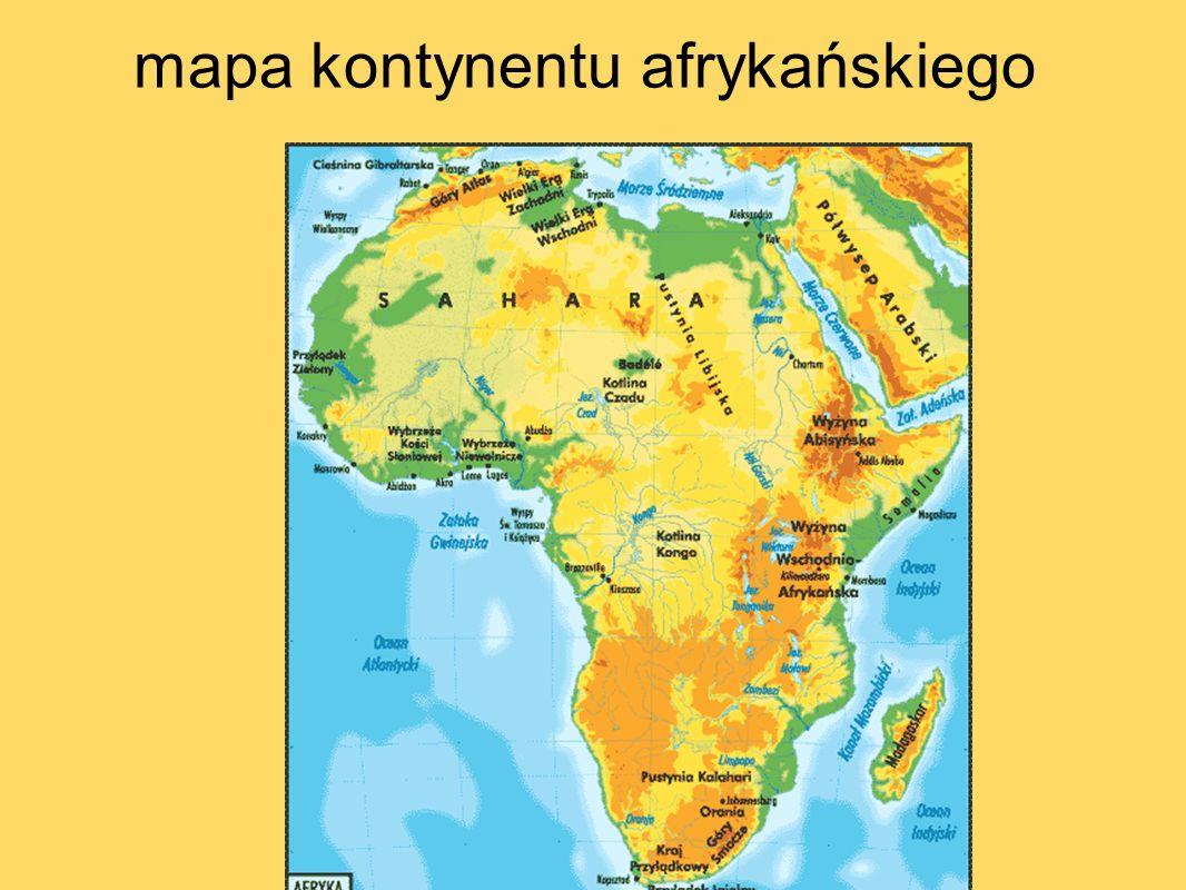 mapa kontynentu afrykańskiego