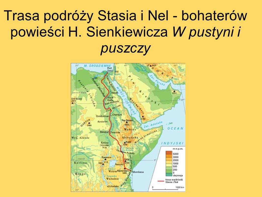 Trasa podróży Stasia i Nel - bohaterów powieści H