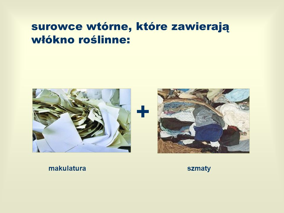 surowce wtórne, które zawierają włókno roślinne: