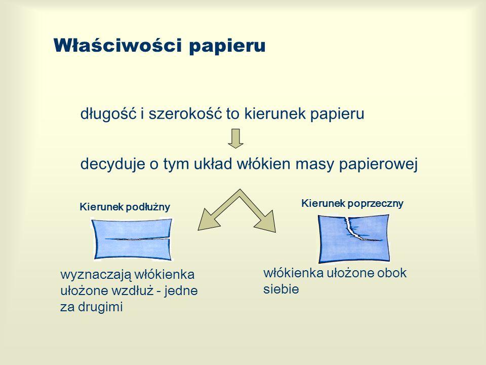 Właściwości papieru długość i szerokość to kierunek papieru